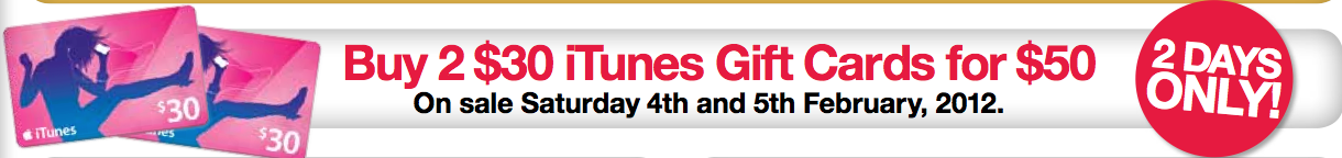 2 Day iTunes Gift Card Sale - Target - Mac Prices Australia