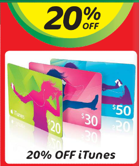 Woolworths easter itunes sale 20 off cards mac prices australia save 20 off itunes gift negle Image collections