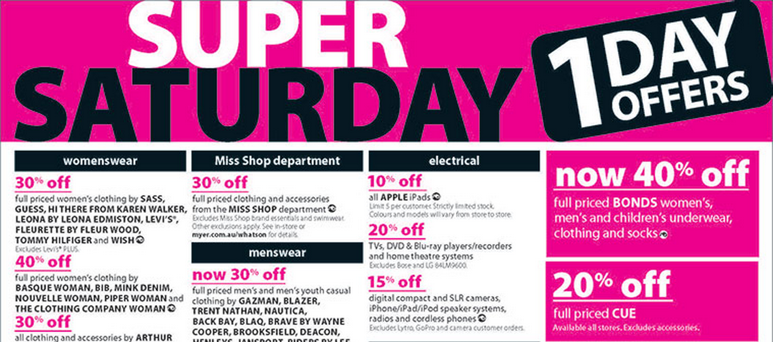 Myer one day iPad sale – October 12th only