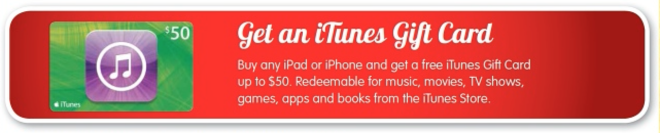 iTunes card bonus iPad iphone