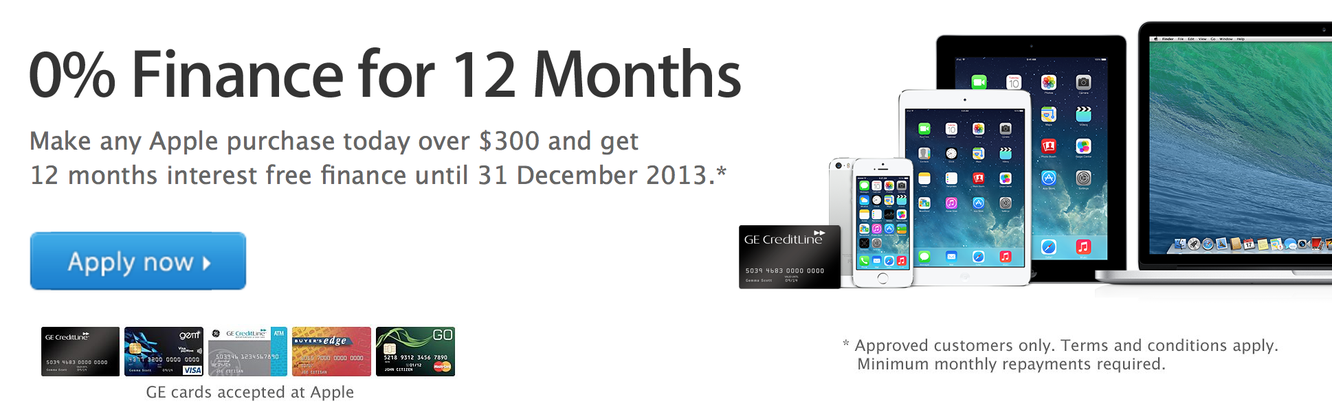 Apple – Offering 12 months interest free to Christmas