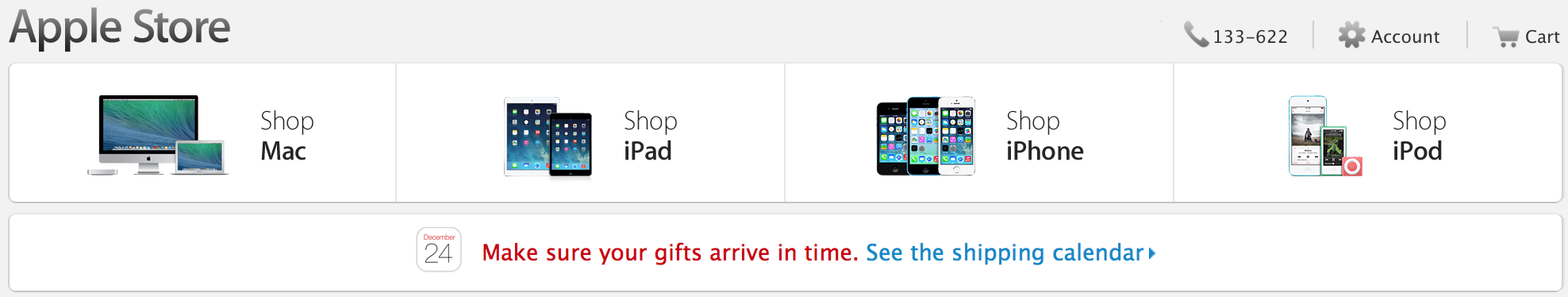 Apple Christmas shipping