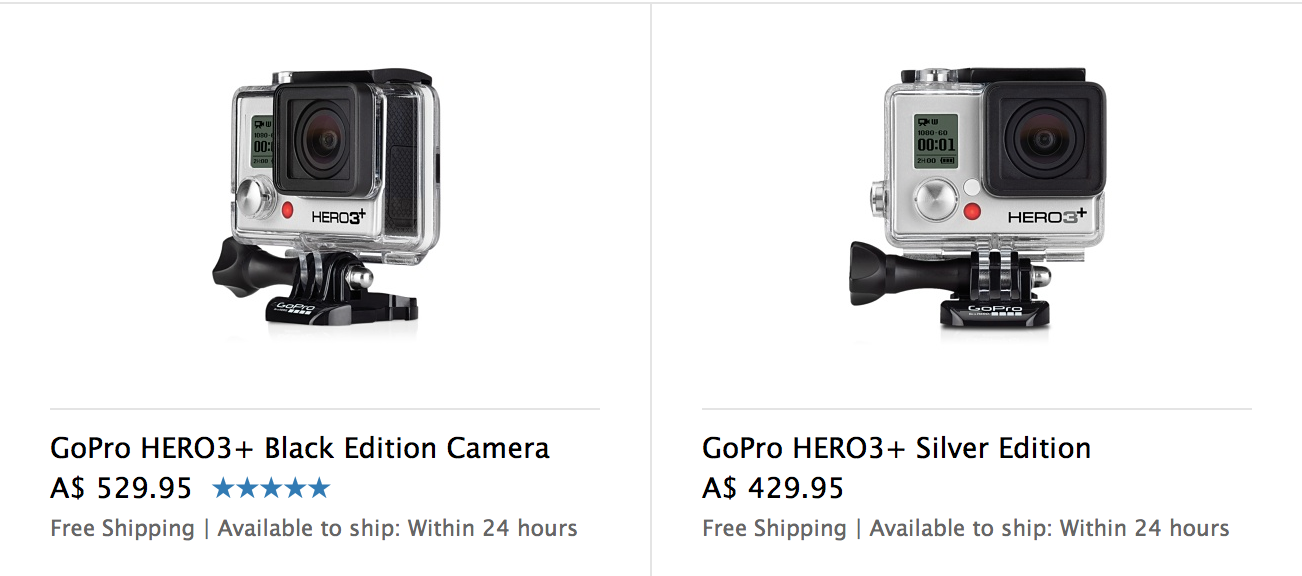 GoPro HERO3+ black silver price