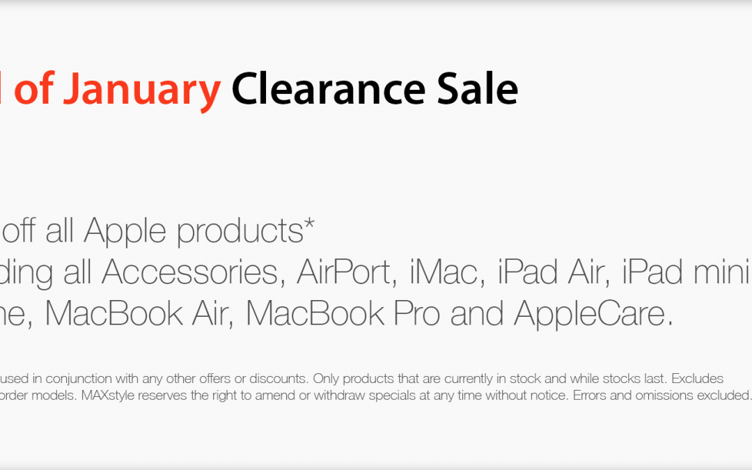 MAXstyle offers 10% off all Apple products & more – End of January Sale