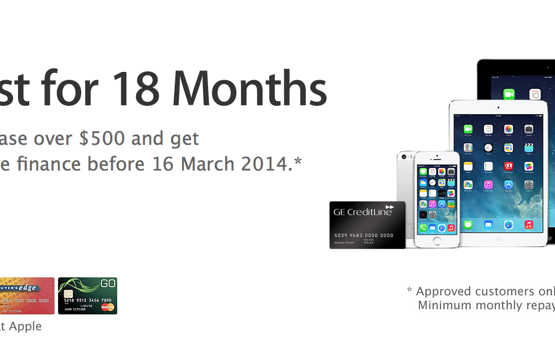 Apple Online offering 18-months 0% interest free