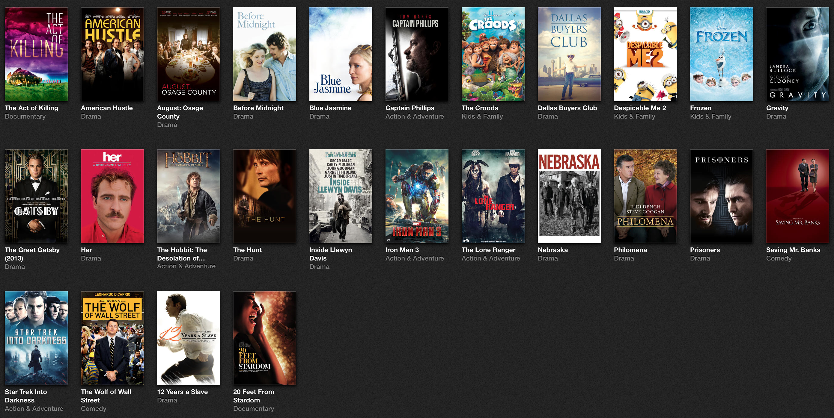 iTunes Oscar Movies