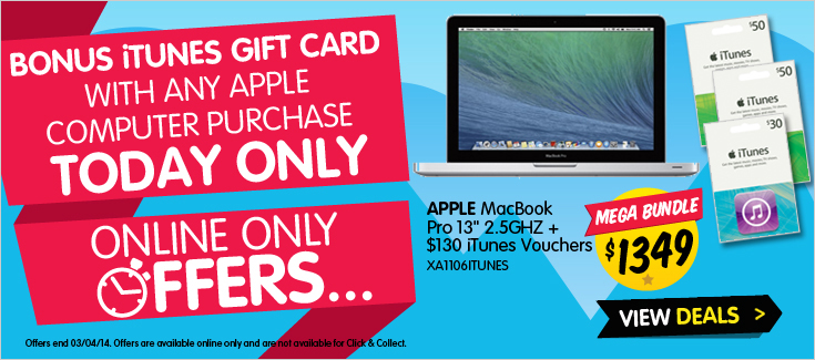 Dick Smith one day bonus iTunes Cards with Mac Sale