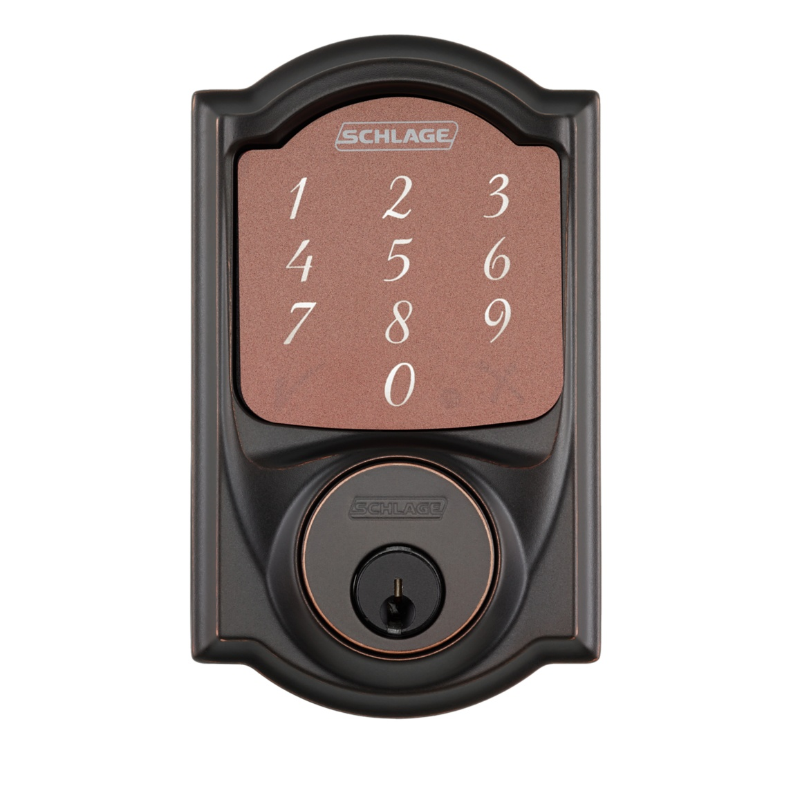 Schlage-Sense-Smart-Deadbolt-with-Camelot-Trim-Bronze