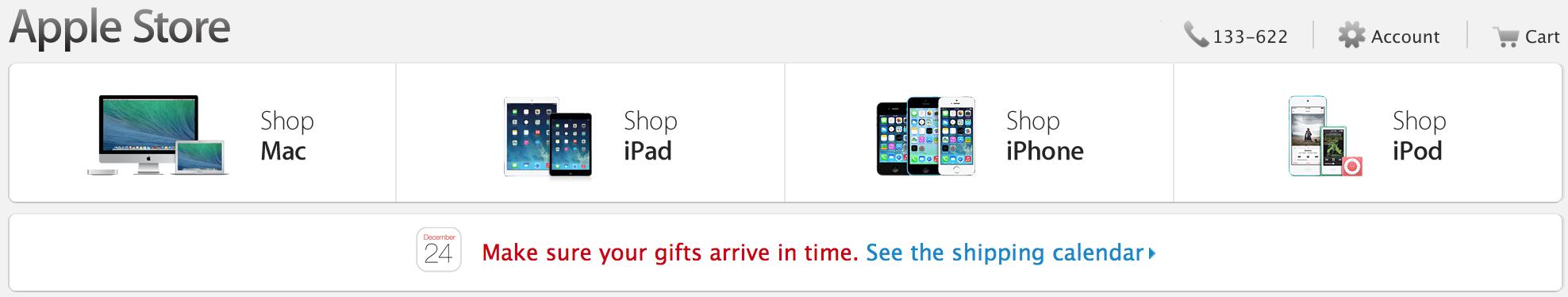 Apple Christmas shipping
