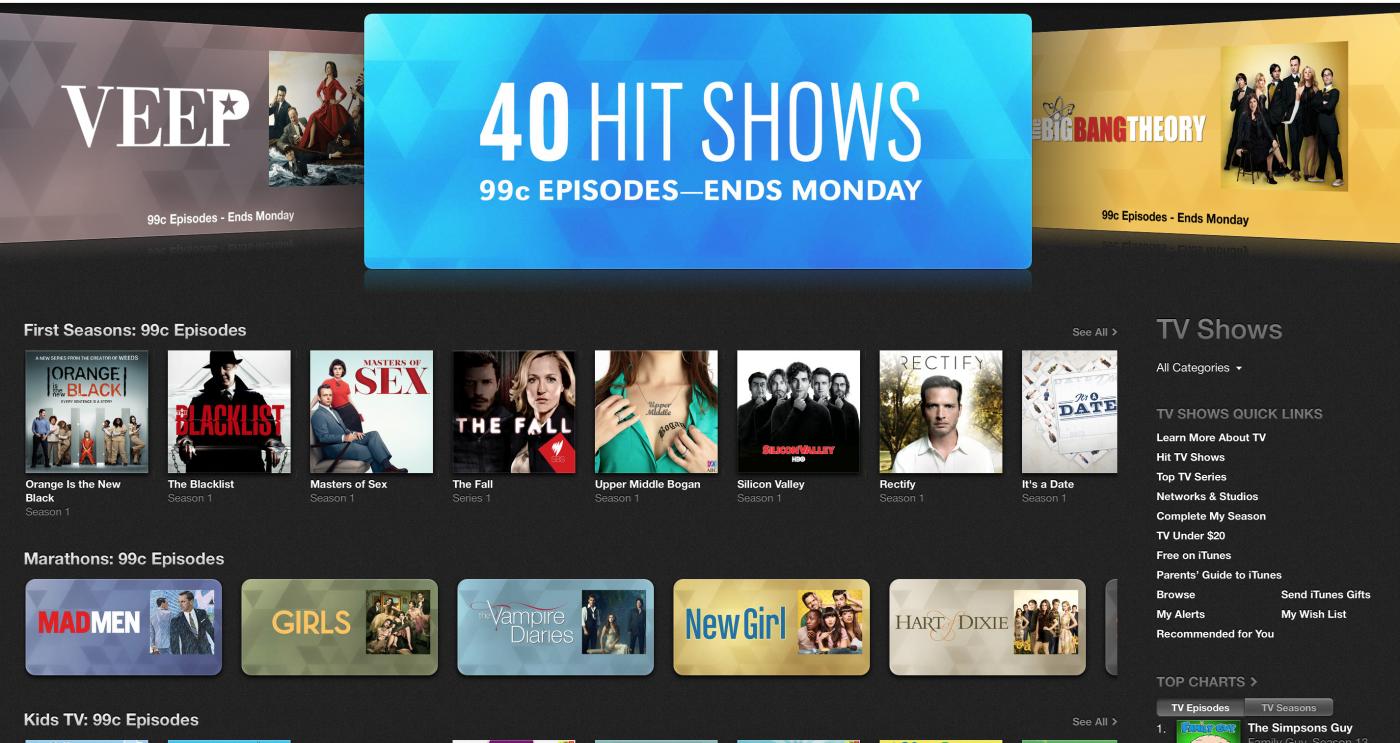 iTunes TV Sale