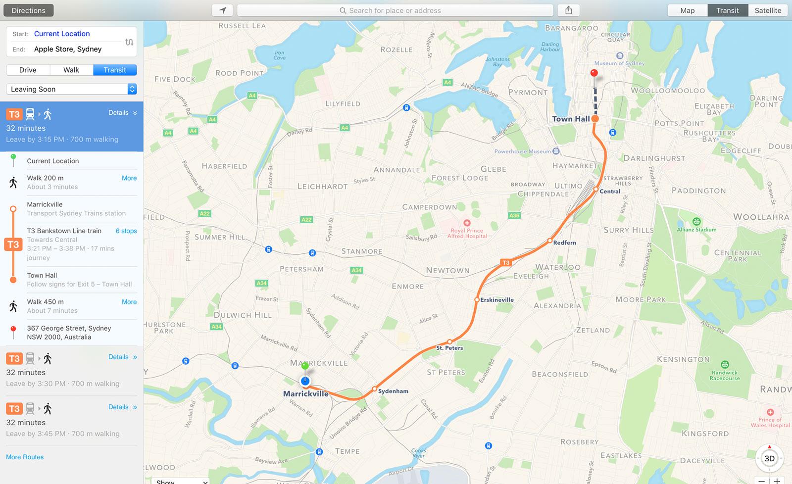Apple Maps Transport Sydney