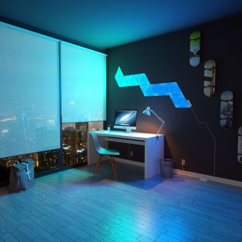 Aurora lightning study room blue