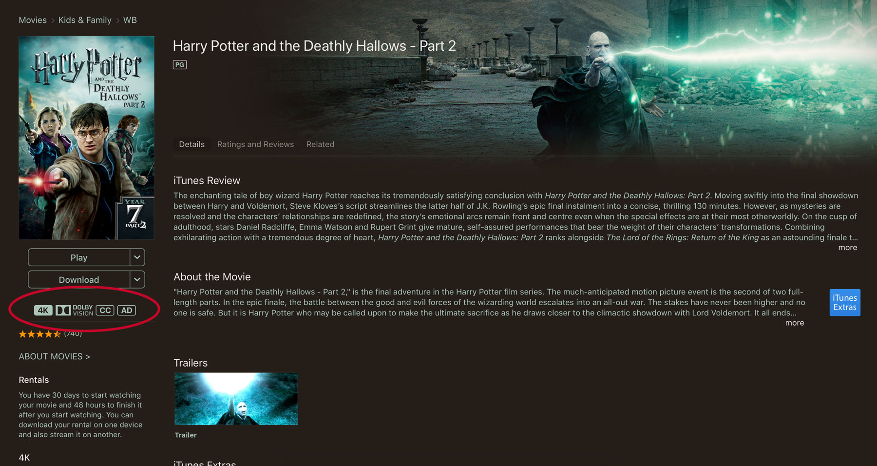 Harry Potter and the dealthy hallows part 2 4K itunes