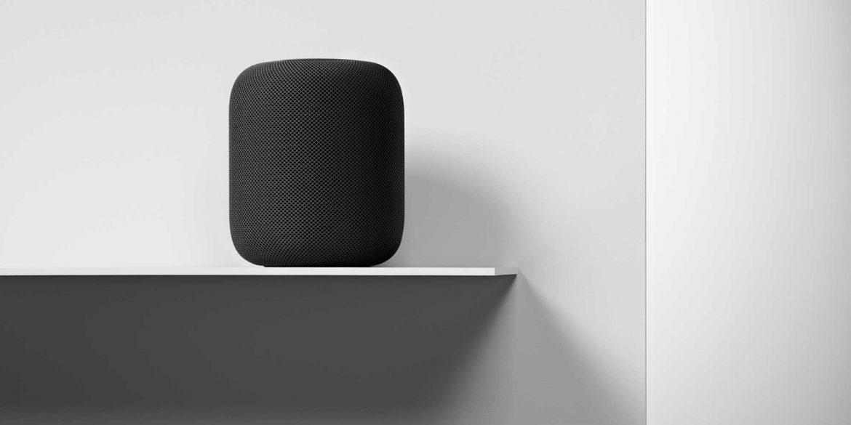 HomePod in Space Grey inside home on shelf