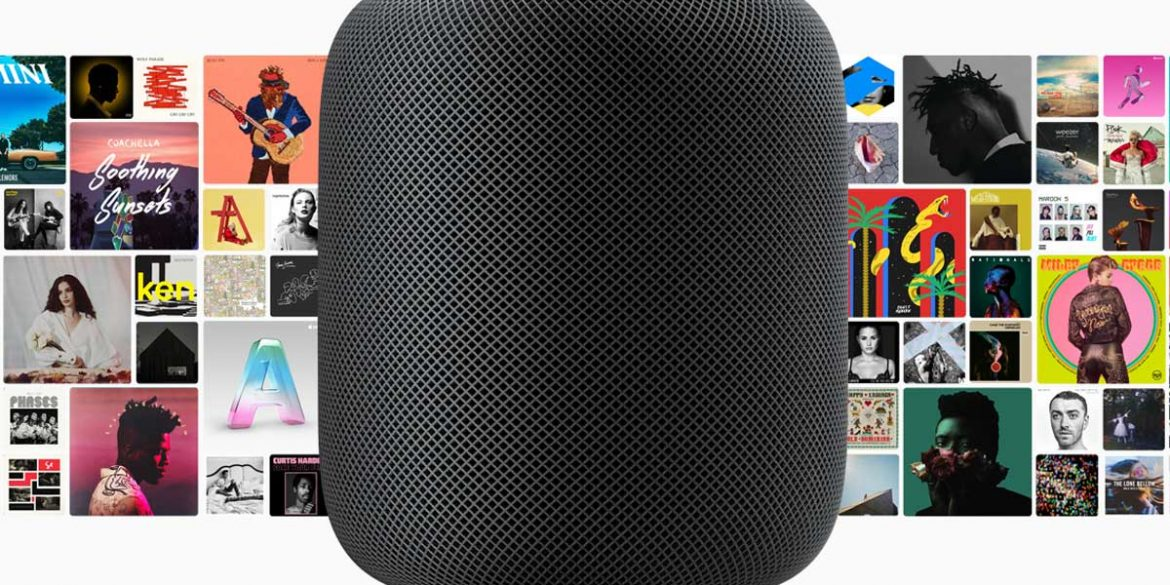 Space Grey HomePod Speaker with Apple Music Album Covers