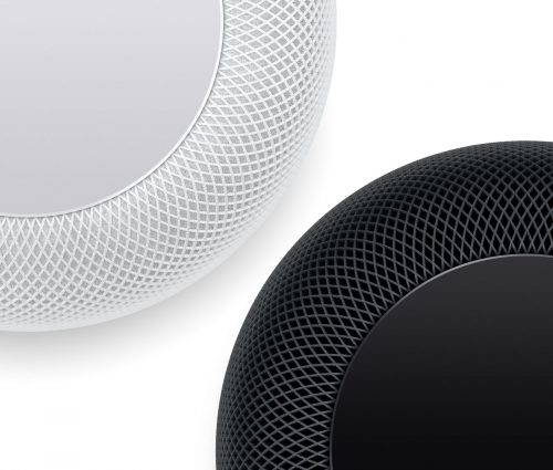 Two Apple HomePod Speakers in Space Grey and White