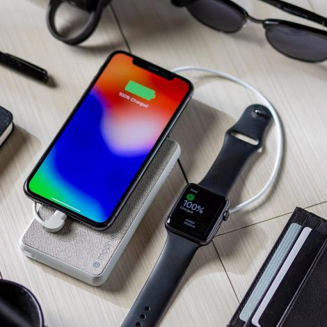 New silver mophie powerhouse battery with iPhone X and Apple Watch