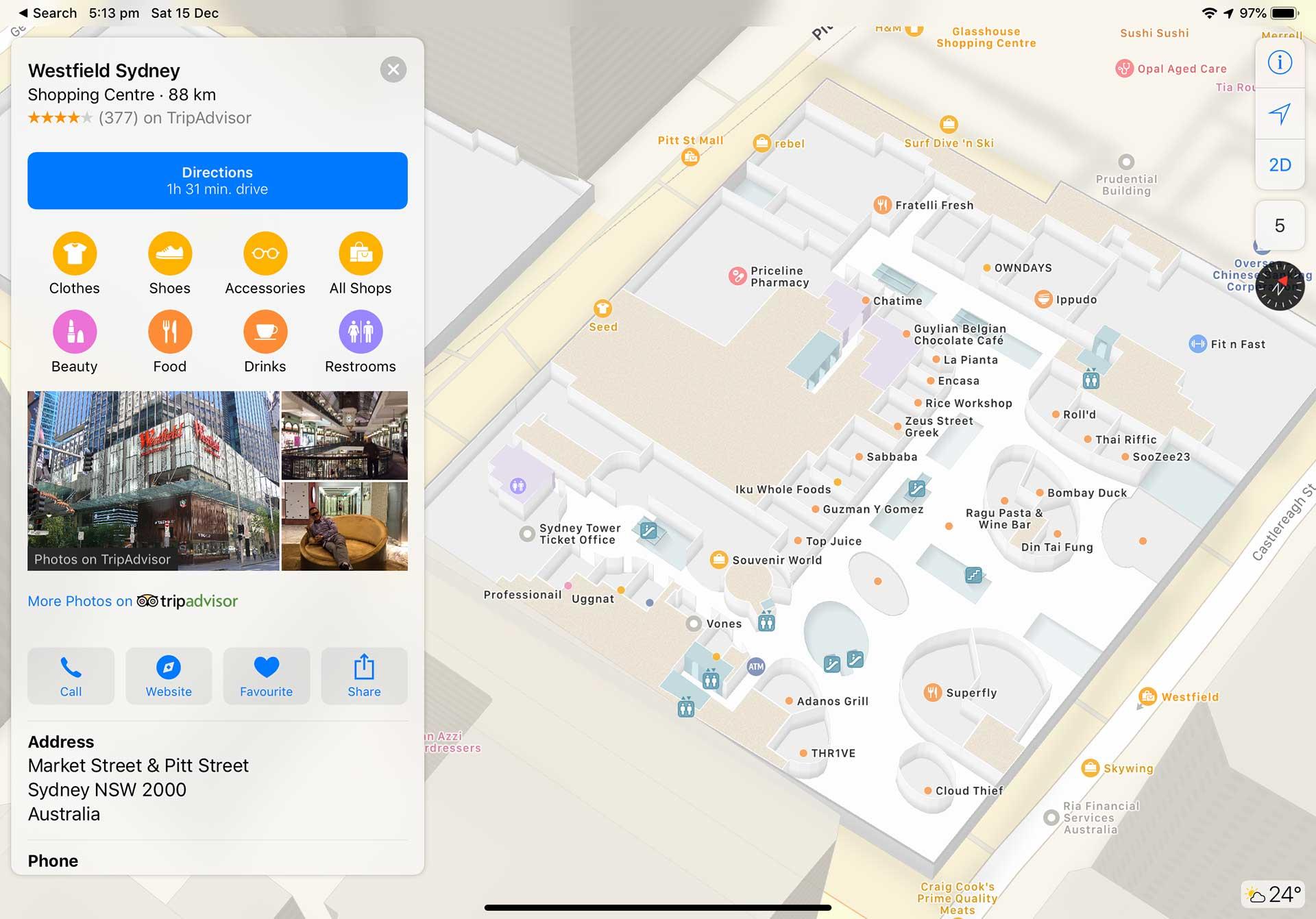 Map Of Australia Sydney.Westfield Centres Gain Indoor Maps On Apple Maps Mac Prices Australia