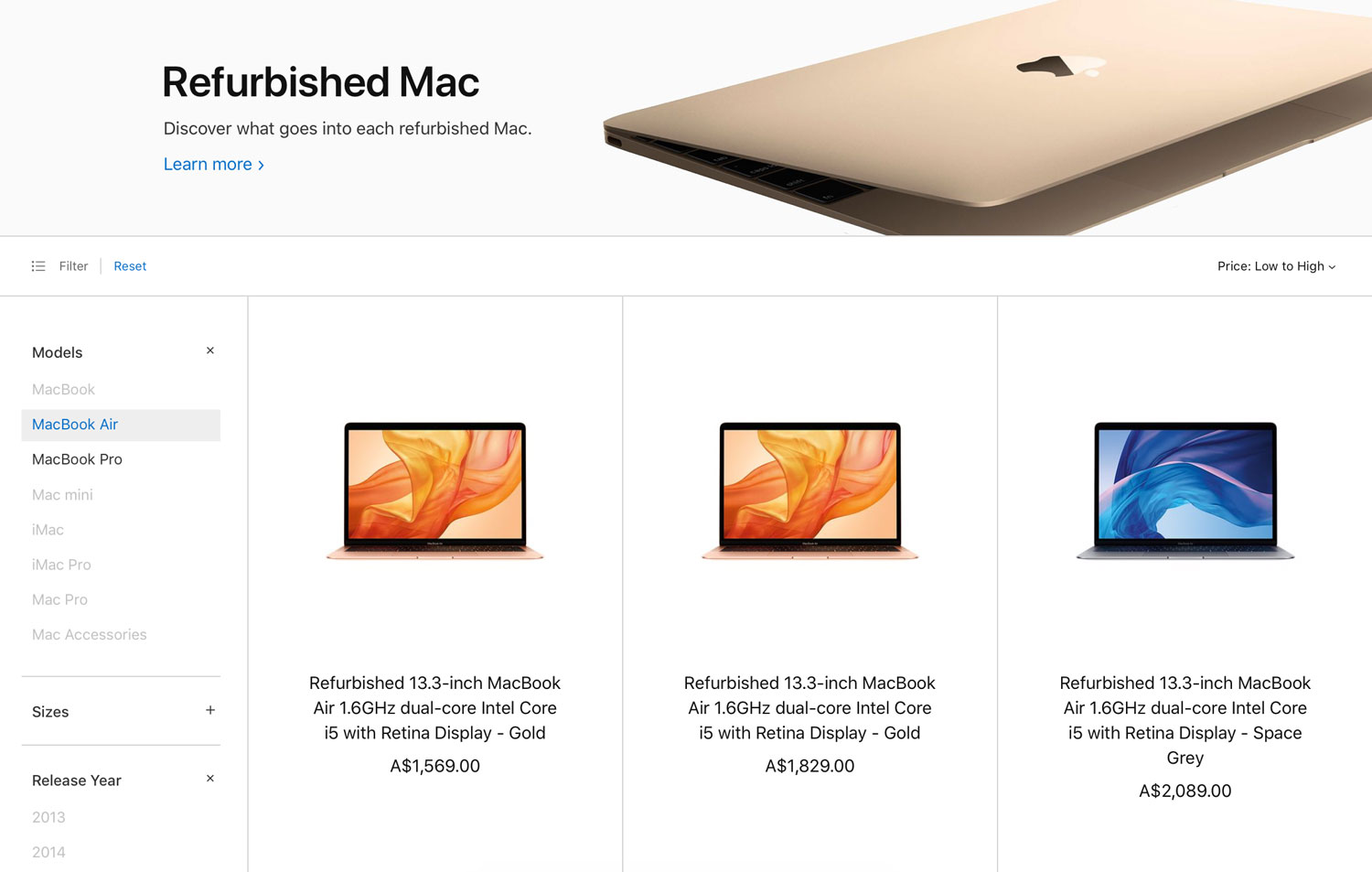 2018-released-MacBook-Air-on-Refurbished-Store-Australia