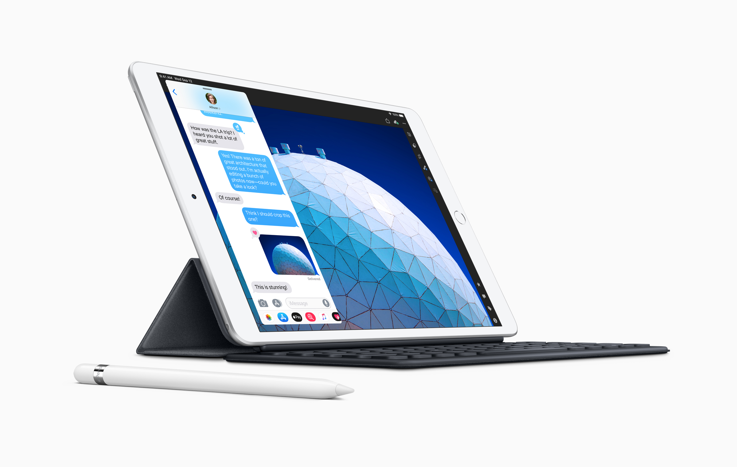 New iPad Air with Smart Keyboard and Apple Pencil