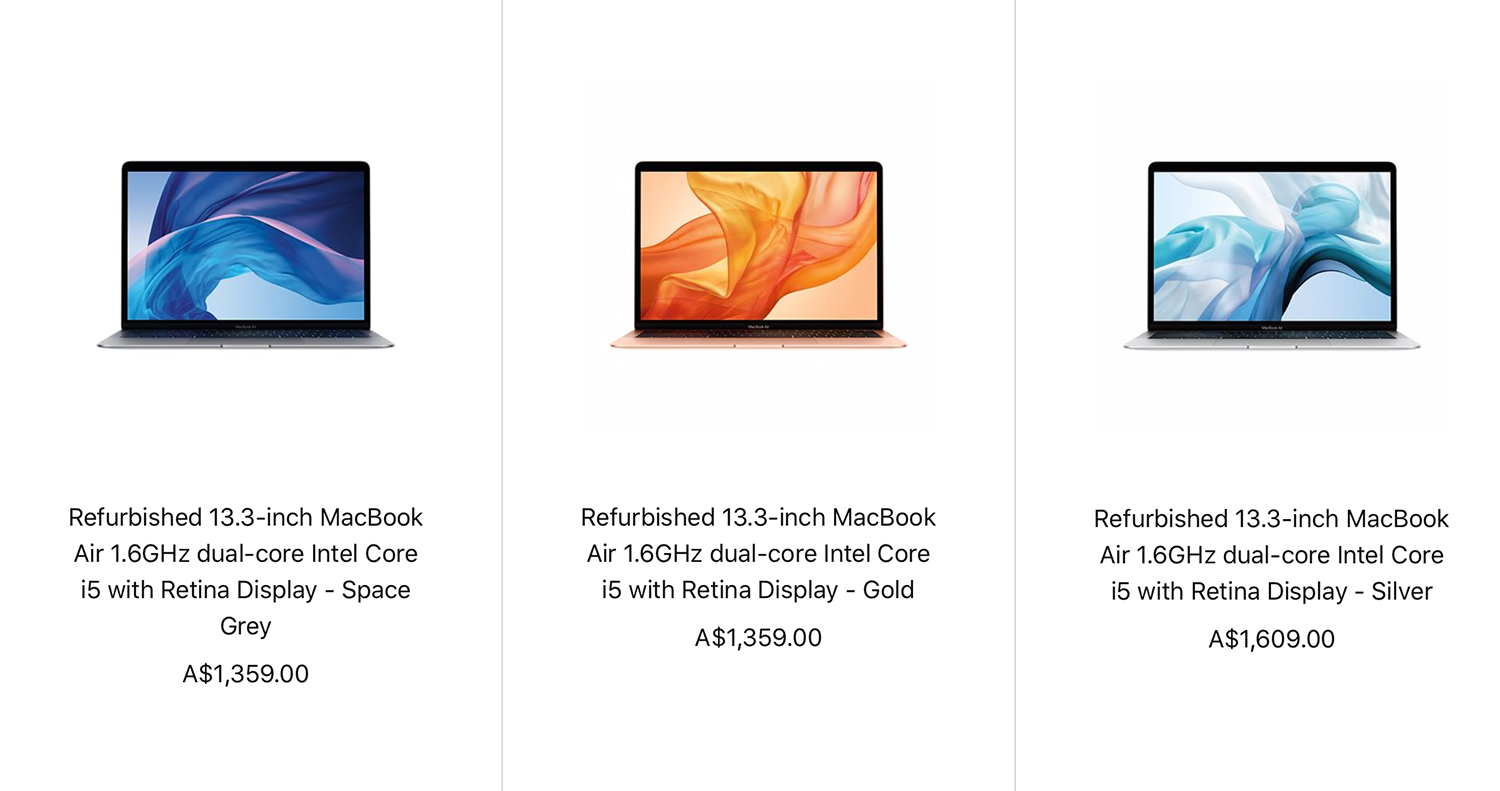 2018 released MacBook Air refurbished prices