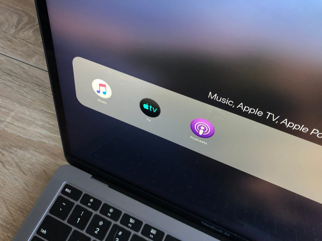 Apple Music Apple TV and Apple Podcasts App on new MacBook Air with macOS Catalina