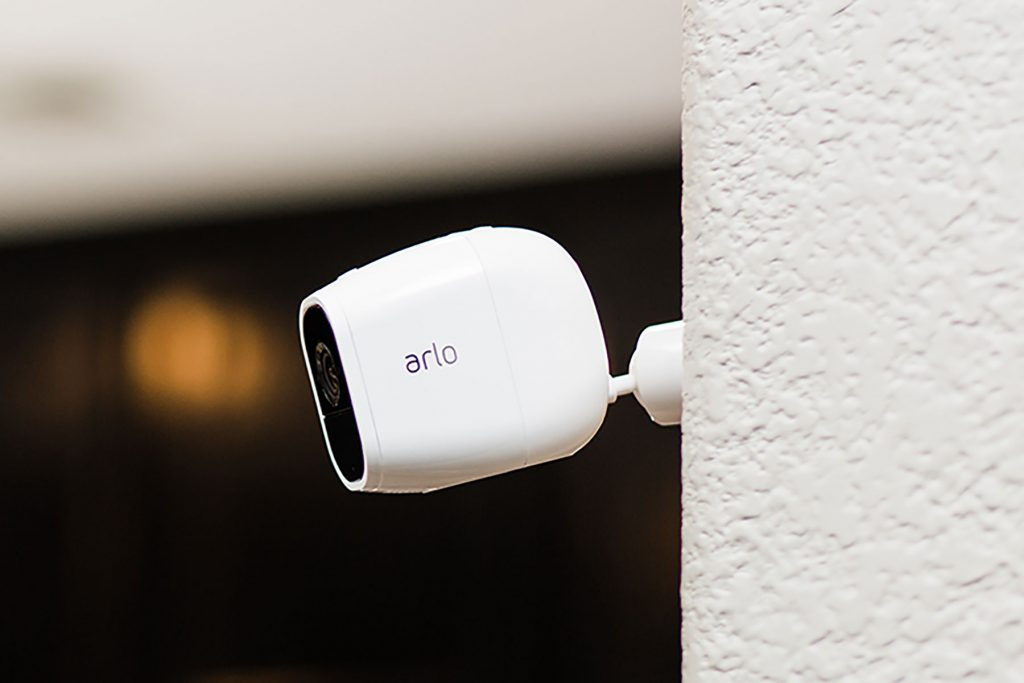 Arlo Pro 2 security camera on wall