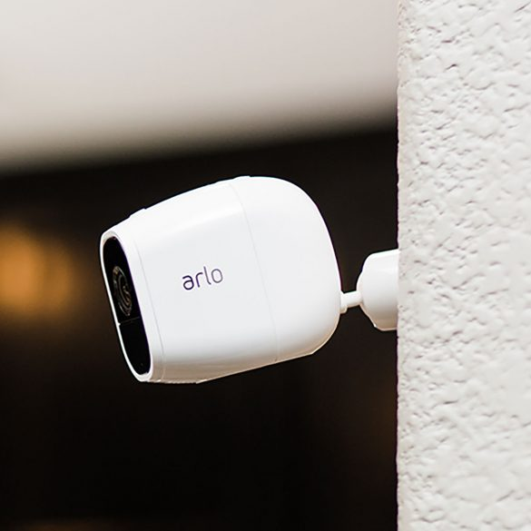 Arlo Pro 2 security camera on wall