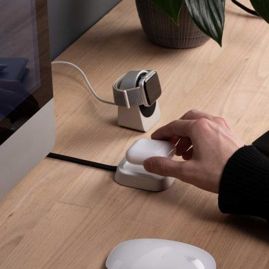 Proper Wireless Charging Dock for AirPods on desk with Apple Watch and iMac