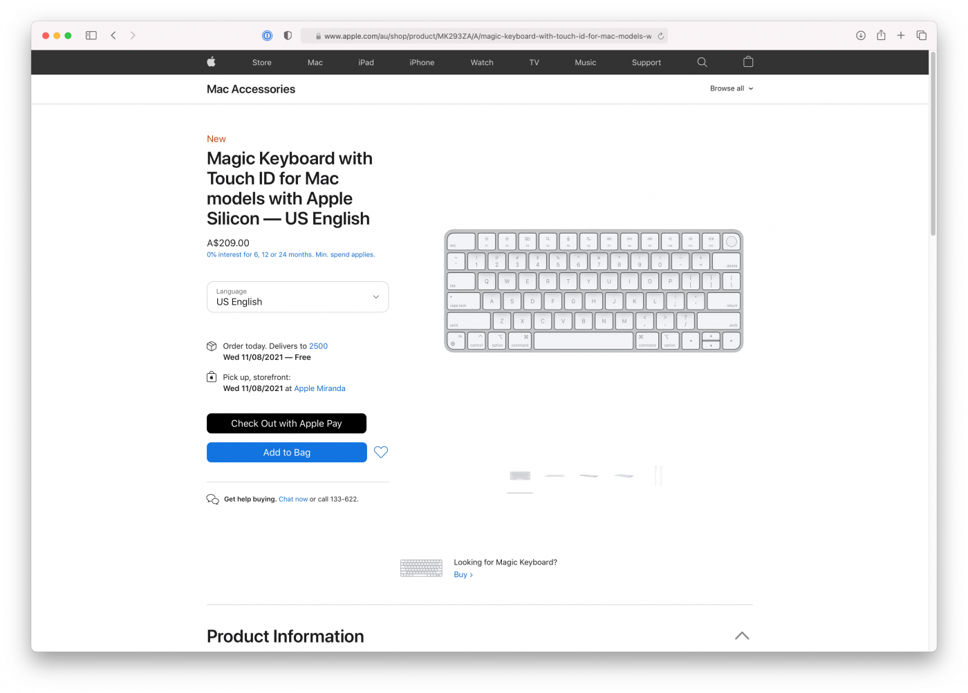 Apple Magic Keybord with Touch ID on Apple online